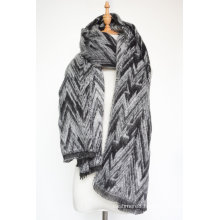 Women′s Cashmere Like Knitted Winter Heavy Wave Printing Shawl Scarf (SP301)